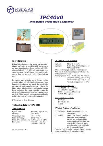 IPC40x0 Integrated Protective Controller, Datablad - ProTrol AB