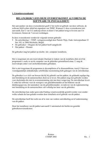 lees deze overeenkomst alvorens de software te installeren!