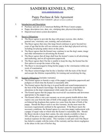 BreedingShow Puppy Purchase Agreement  Fiume Kennels