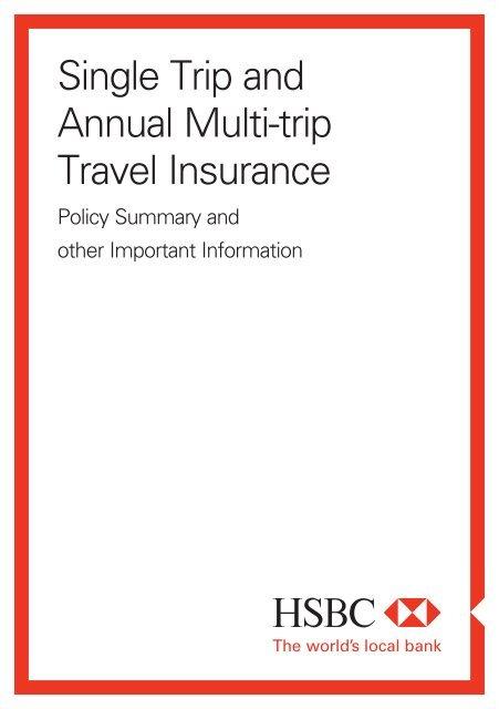 Single trip and annual multi-trip travel insurance policy (PDF) - HSBC