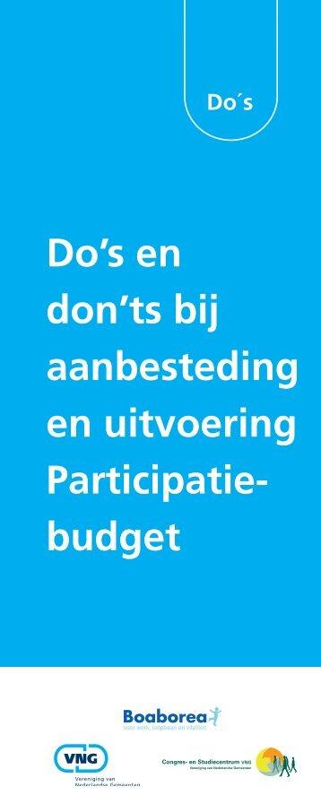 Do's en don'ts bij aanbesteding en uitvoering Participatie ... - Pianoo