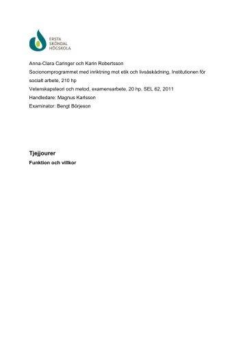 Tjejjourer - Funktion och villkor - Sveriges Kvinno