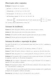 Observação sobre conjuntos Axiomas da incidência Axiomas da ...