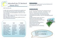 Jahresheft des TC Reisbach Saison 2012 - Tennisclub Reisbach
