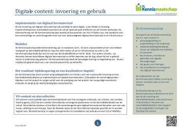 Brochure Invoering digitale content - Kennismaatschap
