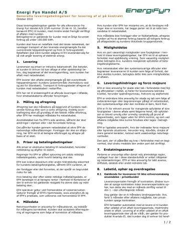 ENERGI FYN FORSYNINGSPLIGT A/S' leveringsbetingelser for salg ...