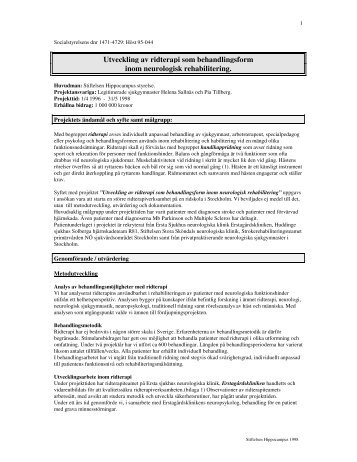 Utveckling av ridterapi som behandlingsform inom neurologisk ...