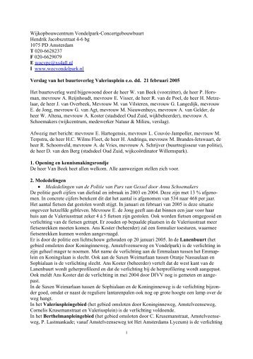 verslag van 21 februari 2005 - Wijkcentrum Vondelpark ...