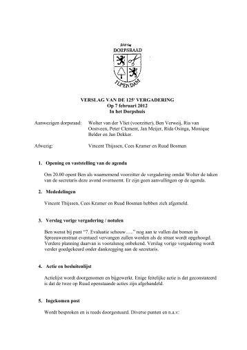 VERSLAG VAN DE 125e VERGADERING Op 7 februari 2012 In het ...