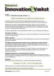 Skabe innovation og vækst for medlemmerne Tirsdag kl. 16.30 ...