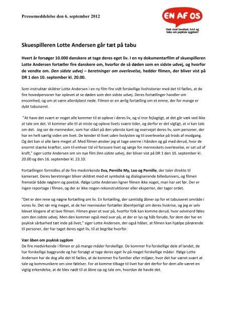 Skuespilleren Lotte Andersen går tæt på tabu[1]. 3 sept.2012x
