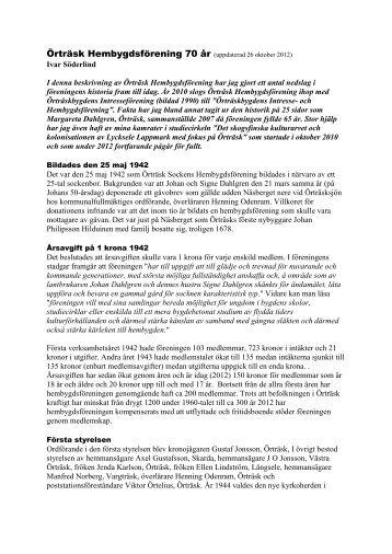 Historiken över hembygdsföreningen uppdaterad - Örträsk