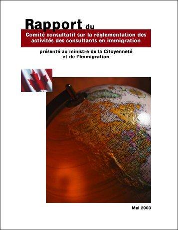 Rapport du Comité consultatif sur la réglementation des ... - CSIC