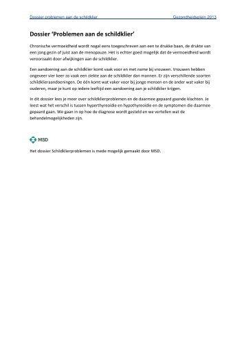 Dossier 'Problemen aan de schildklier' - Gezondheidsplein.nl