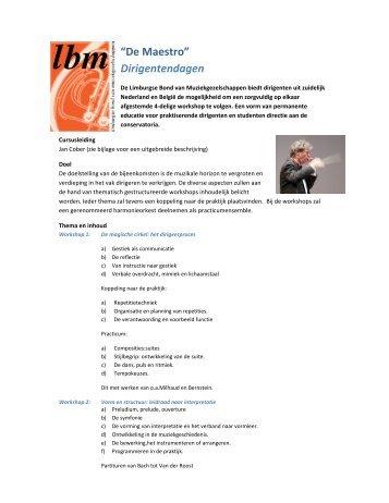 """De Maestro"" Dirigentendagen - Conservatorium Maastricht"