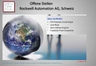 Offene Stellen Rockwell Automation AG, Schweiz