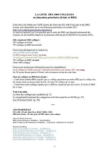 Liste Des 1084 Collèges En Eclair Et En Rrs Ozp