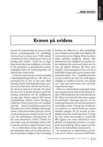 Marja Holmila: Kraven på evidens