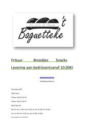 Frituur Broodjes Snacks Levering aan bedrijven(vanaf ... - Baguetteke