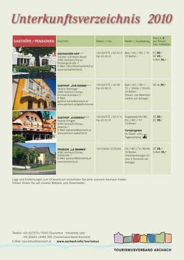 Unterkunftsverzeichnis 2010 - Aschach an der Donau
