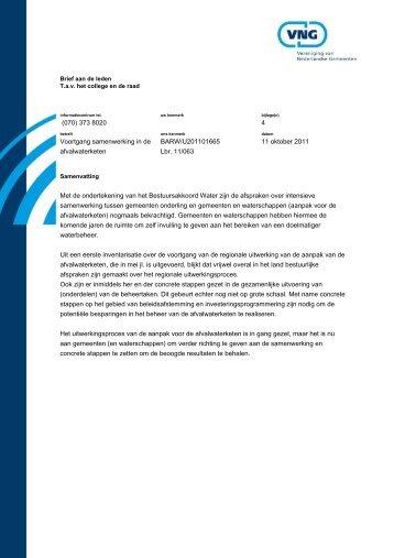 Voortgang samenwerking in de afvalwaterketen - Vereniging van ...