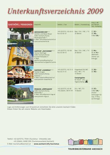 Unterkunftsverzeichnis 2009 - Aschach an der Donau