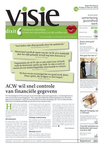 ACW wil snel controle van financiële gegevens - ACV