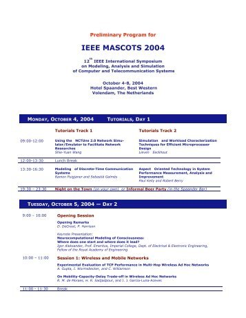 MASCOTS 2004 Preliminary Program
