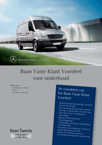 Baan Vaste Klant Voordeel voor onderhoud - Baan Twente