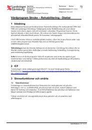 Vårdprogram Stroke – Rehabilitering - Dietist - Landstinget Gävleborg