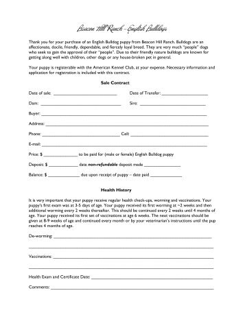 Sample Sugarloaf Shepherds Puppy Sales Contract