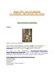 Stage NT2- Art et Géométrie LE TOTEM –MOYENNE SECTION