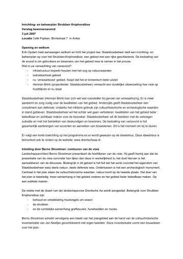 Verslag bewonersavond Strubben Kniphorstbosch 3 ... - Drentsche Aa