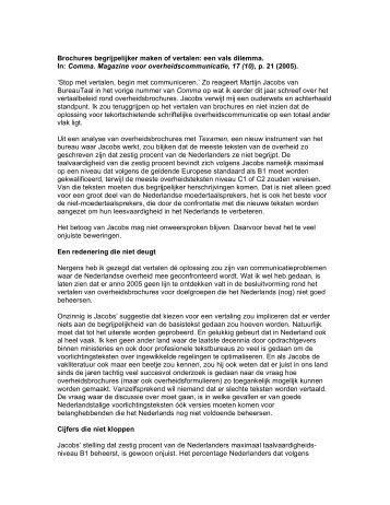 Comma. Magazine voor overheidscommunicatie, 17 ... - Carel Jansen