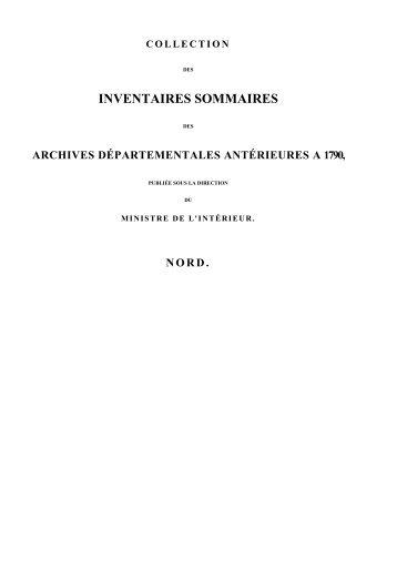 INVENTAIRES SOMMAIRES - Archives départementales du Nord
