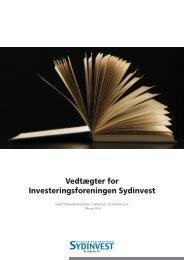 Vedtægter for Investeringsforeningen Sydinvest