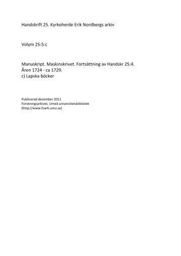 c) Lapska böcker - Forskningsarkivet