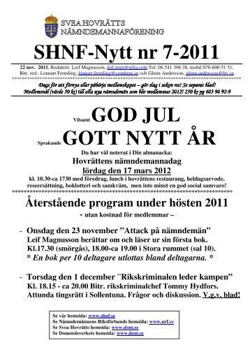 SHNF-Nytt nummer 7 – 2011