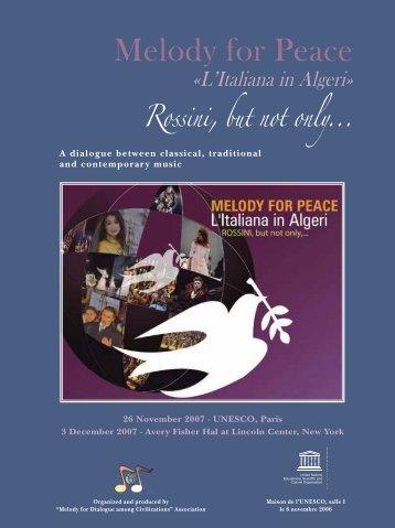 Melody for Peace: l'Italiana in Algeri; Rossini ... - UNESDOC - Unesco