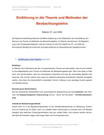 Einführung in die Theorie und Methoden der ... - Userpage