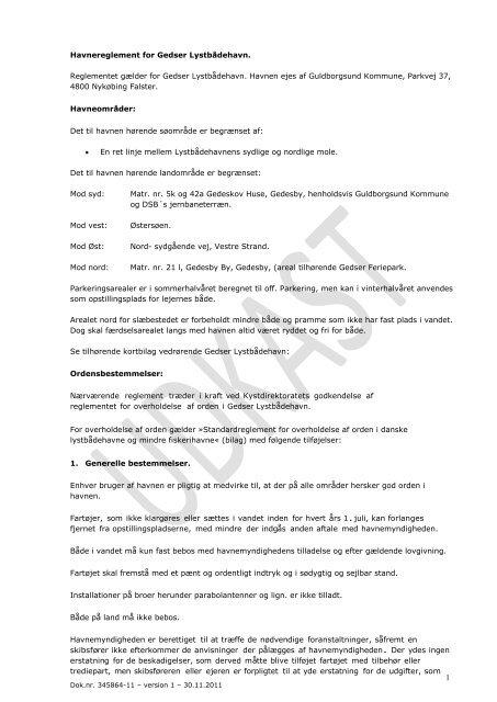 Gedser Lystbådehavn - Forslag til nyt reglement - Guldborgsund ...