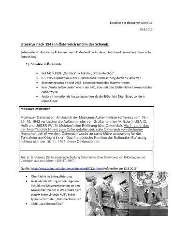 Literatur nach 1945 in Österreich und in der Schweiz
