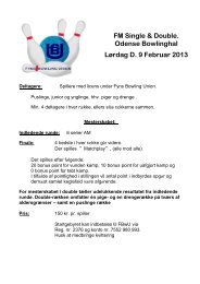 FM Single & Double. Odense Bowlinghal Lørdag D. 9 Februar 2013