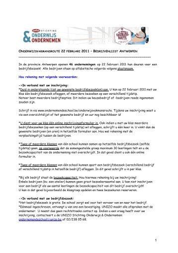 format deelnemerslijst WEBSITE Oroute2011_Apen - UNIZO ...