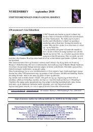 NYHEDSBREV september 2010 - Støtteforeningen for Svanevig ...