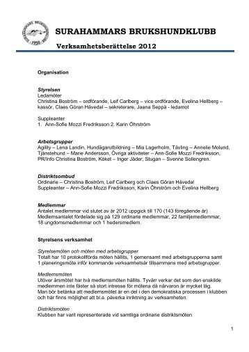 Verksamhetsberättelse 2012 Styrelsen - Surahammars ...
