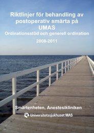 Riktlinjer för behandling av postoperativ smärta på UMAS