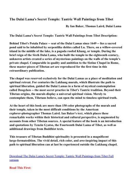 The Dalai Lama's Secret Temple: Tantric Wall     - pdfecv com