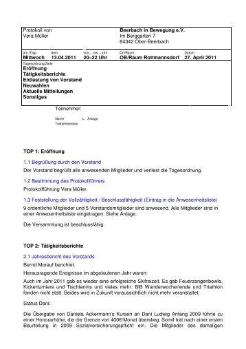 Protokoll von Vera Müller Beerbach in Bewegung eV Im Berggarten ...