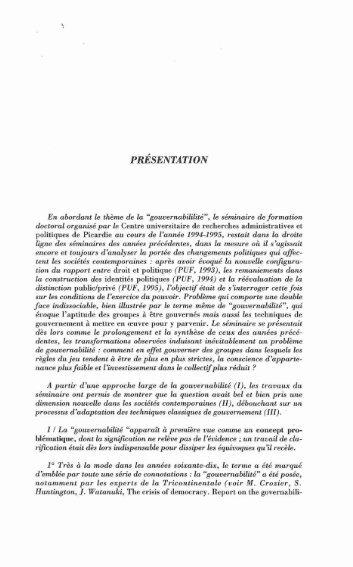 PRÉSENTATION - Université de Picardie Jules Verne